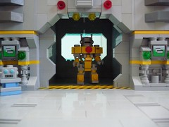 Hippity Hangar (Magma guy) Tags: robot lego general gates space hangar working things crew stuff opening boxes minifigs mecha crates mech hardsuit purist