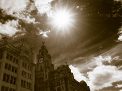 Starburst, Pier Head (Bev Goodwin) Tags: blackandwhite architecture clouds liverpool buildings waterfront pierhead starburst liverbirds merseyside liverbuilding royalliverbuilding blackandwhitephotos