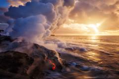 Overcome (Ryan Dyar) Tags: ocean seascape reflection sunrise kalapana hawaii lava steam bigisland plume lavaflow oceanentry ryandyar