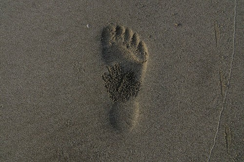 Footprint on beach