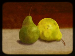 I'm there for you (emilybrownchicagodigitalartist) Tags: brown green yellow fruit painting pears tan oldphoto artrage