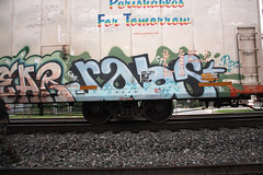 raos (No Real Name Given.) Tags: railroad art train graffiti stock rails boxcar freight rolling reefer cryo benching