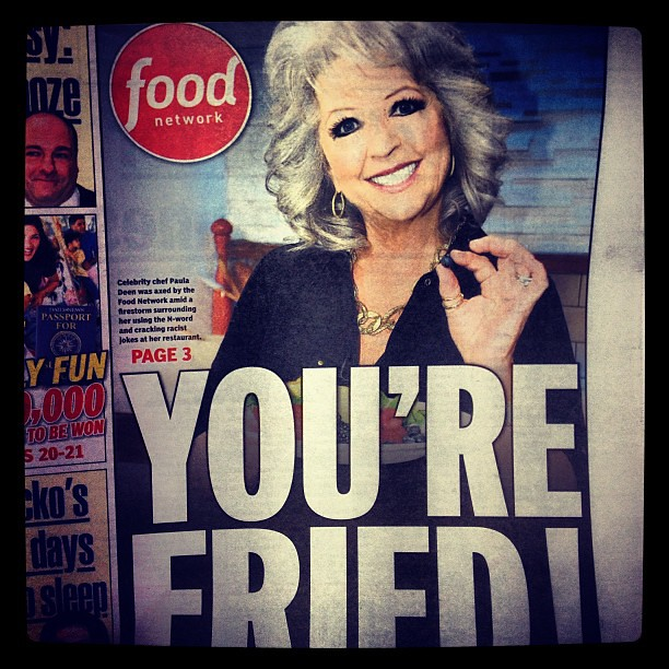 Paula Deen Daily News Front Page, New York #pauladeen #dailynews #newspaper #foodnetwork #prdisaster famousracist #hardnews #prmakeover photo by Brad Starks