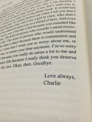 love always, charlie (Luigi Q.) Tags: book theperksofbeingawallflower stephenchbosky