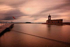 Normanton Church, Rutland Water (Andy Watson1) Tags: uk light summer england english church water architecture clouds canon landscape scenery long exposure view wind britain flag jetty united great smooth scenic sigma kingdom r