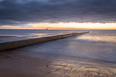 (Callaghan69) Tags: uk longexposure sea england sky sun seascape beach water clouds sunrise landscape bay coast seaside sand nikon scenery colours horizon northsea nd slowshutter nikkor blyth cokin ndfilters northeastengland beautyofwater gndfilters blythpier wildaboutnorthumberland