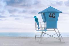 Blue (KristenVB) Tags: ocean california blue sunset sea sky woman selfportrait seascape color beach me water hat clouds self sand surf sandiego shore tropical northisland coronado lifeguardtower selfie thechallengefactory thephotographyblog