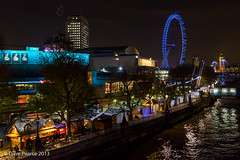 Christmas Market outside the RFH. (Dave Pearce (London)) Tags: christmas light london thames night 35mm canon river lights is hand market low southbank f2 usm held royalfestivalhall 5dmkiii