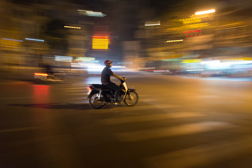 A night rider in Hanoi