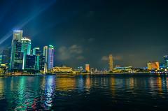 Singapore Skyline (cantfindninad) Tags: water skyline clouds marina evening bay singapore asia cityscape clear promontory singaporecbd