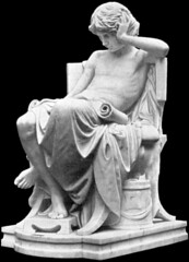 Charles Jean Marie Degeorge (1837-1888) Jeunesse d'Aristote (The Youth of Aristotle) front left (1875) (ketrin1407) Tags: charlesdegeorge aristotle statue sculpture seminude draped seated marble victorian youth study blackbackground