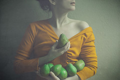 the gathering green (elle.hanley) Tags: portrait food woman yellow fruit self vintage dress skin greenpear texturebylesbrumes vivadeva ladymisselle