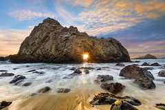 Keyhole Arch - Pfeiffer Beach, California (Mike Mezeul II Photography) Tags: ocean california sunset sun motion beach water nikon rocks waves arch pacific bigsur highway1 carmel keyhole westcoast pfeiffer starburst d800 mezeul