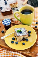 Blueberry  cake for breakfast (Katty-S) Tags: morning coffee yellow cake breakfast baking berry berries sweet blueberry mug bake