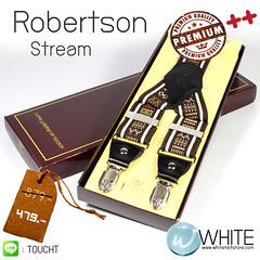 Robertson Stream - สายเอี้ยม (Suspenders) สายสีน้ำตาลเข้ม ลายเส้นตรง ขนาดสาย กว้าง 3.5 เซนติเมตร