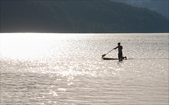 Into the light (Niara Art) Tags: light shadow people lake man nature water silhouette austria scenery paddle nikond80