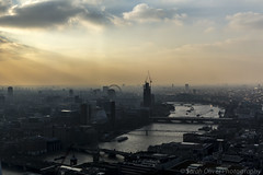 View as the sun goes down over the River Thames (SarahO44) Tags: street city uk sunset sky mist reflection london glass thames skyscraper canon river garden francis view terrace united kingdom 20 shard tinted 6d fenchurch golding walkie talkie