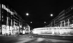 Avenyn Light trails (Olderhvit) Tags: light blackandwhite göteborg sweden gothenburg lighttrails goteborg 2014 svartvit ljus img1003 framingthestreet olderhvit