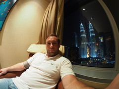 Having a rest in my room at Traders by Shangri La hotel, Kuala Lumpur!