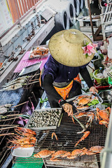 The Lady with the Hat (nicoleee317) Tags: travel food woman cooking hat thailand asia market bangkok floating crab adventure eat exotic