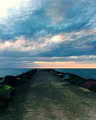 Anglet (mrjcrr) Tags: ocean sunset sea sky sun mer france beach colors clouds landscape horizon paysage pecheur falaise plage vue rocher paysbasque sudouest anglet