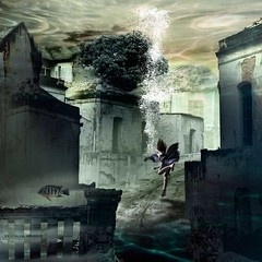 Going deeper into deep truths (Silvia Andreasi (Images Beyond Mirror)) Tags: woman blur texture misty photomanipulation butterfly photography ruins underwater surrealism digitalart surreal fantasy imagination drowning textured fineartphotography artphotography heaviness conceptualphotography mistiness imagesbeyondmirror silviaandreasi