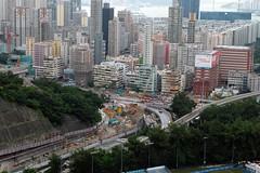 Construction Junction (Michelle Lai Lai) Tags: hongkong slopes roadconstruction roadjunction fadedbuildings