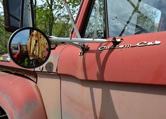 Vintage Custom Cab (timmerschester) Tags: old red canada reflection window truck mirror rusty faded junkyard mcleansautowreckers