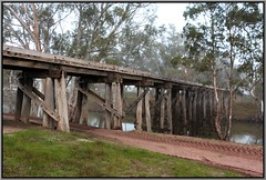 Down By The Riverside (florahaggis) Tags: morning bridge autumn water fog river mud australia victoria woodenbridge railwaybridge wimmera timberbridge disusedbridge wimmerariver quantong