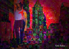 Visitor (brillianthues) Tags: city urban philadelphia collage skyline night photoshop photography colorful mannequins photmanuplation