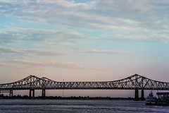 Crescent City Connection Bridge (maria manuela photography) Tags: architecture river water minimal minimalism bridge city colors cityscape travelphotography photography travel texture citylife urban tourism traveltourism traveldestination travelandtourism skynight sky night blue clouds lights trees mississippiriver louisiana neworleans bluesky mariamanuelaphotography