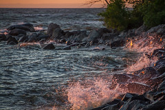 Rough Water Sunset (skram1v) Tags: sunset water surf waves spray manitoba rough vb pounding lakewinnipeg wetrocks june1416