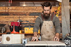 Stephen 1 (TravisHaight) Tags: california wood portrait shop canon beard la saw losangeles cut working overalls worker woodworking woodshop safetyglasses stephenandrews travishaight travishaightphotography