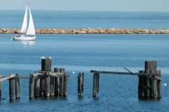 Sailboat and Old Dock (PGK88) Tags: old blue seascape abandoned water sailboat harbor boat dock posts