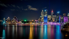 VIVID SYDNEY COLOUR (Laith Stevens Photography) Tags: ocean city bridge color colour skyline reflections wonderful lights long exposure harbour smooth sydney vivid olympus pro f28 omd em1 1240mm