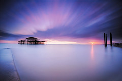 Brighton West Pier last light.. (KVH-P) Tags: ocean uk sunset sea england sky beach water clouds sussex pier lowlight brighton waves seascapes jetty wideangle slowshutter eastsussex breakwater sigma1020mm 2015 travelphotography gitzotripod leefilters beacheslandscapes cloudsstormssunsetsandsunrises bigstopper nikond7000 sussexseascape