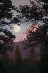 Strawberry Moon Over Brokeoff Mountain (Jillian Kern) Tags: california trees sunset sky moon mountain nature landscape outdoors evening strawberry dusk moonrise northern