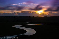 Nearing June Solstice (judethedude73) Tags: sunset summer england sky sun reflection nature water clouds river downs sussex evening landscapes skies dusk cuckmere landscapephotography sunsetphotography