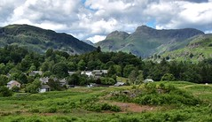 Elterwater village & Langdale Pikes (Nige H (Thanks for 5m views)) Tags: england mountains nature landscape village lakedistrict valley cumbria coutryside elterwater langdalepikes