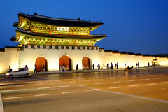 Blue Hour at the Gyeongbokgung Palace in Seoul, Korea (` Toshio ') Tags: street people castle history wall asian asia palace korea korean seoul bluehour toshio gyeongbokgungpalace xe2 fujixe2