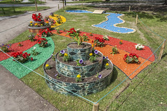Flower Festival In Tallinn (AudioClassic) Tags: old city flower tree tower art festival wall skyline garden bench town spring europe tallinn estonia day cityscape fort financialdistrict weapon destination easterneurope northerneurope urbanscene capitalcities buildingexterior balticcountries surroundingwall europeanculture