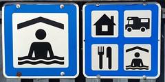 Schilder Und Hinweise (bunkertouren) Tags: camping signs schilder sign schild campingplatz verkehrsschild hinweise hinweis schwimmhalle schwimmbad verkehrsschilder hinweistafel