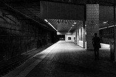It's lonely on the platform / waiting for the last train (zgr Grgey) Tags: bw lines station night train 50mm lowlight nikon geometry silhouettes istanbul rails d750 lonely grainy darkcity 2016