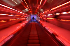 Tunnel in the Atomium, Brussels, Belgium (fame&obscurity) Tags: voyage trip brussels lines stairs lights europe belgium escalator tube tunnel line journey scifi end sciencefiction exit atomium futuristic worldsfair spaceage worldtradefair intothelight retrofuturistic expo58 expo1958 retroscifi atomiumtube brusselsworldsfair atomiumtunnel atomiumstairs atomiumescalator