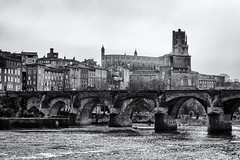 The old bridge (David Feuerhelm) Tags: albi nikkor france bridge buildings cityscape river water old nikon d7100 monochrome bw town hill history