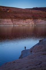 Solitary Fisherman (skram1v) Tags: arizona lake fisherman canyon glen page powell lone solitary april2016