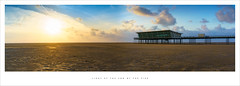 Light at the end of the pier (Parallax Corporation) Tags: sunset sky panorama beach clouds evening pier seaside sand wideangle deserted southport merseyside