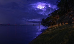 Storm in the Horizon. (+Lonnie & Lou+) Tags: longexposure blue sky storm home nature water night clouds river dark florida sony jacksonville lighttrails lightning tennant