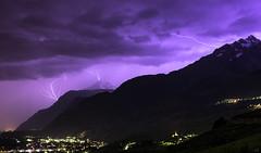 Lights summer (leoskar) Tags: longexposure mountains lights switzerland landscapes exposure nightscape suisse bolt thunderstorm lightning wallis valais