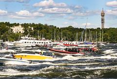 Boat traffic in Stockholm, Sweden 17/6 2009. (photoola) Tags: sea water boat sweden stockholm volvooceanrace photoola